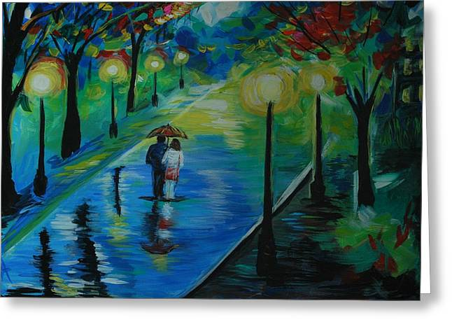 Greeting Card featuring the painting Moonlight Stroll by Leslie Allen