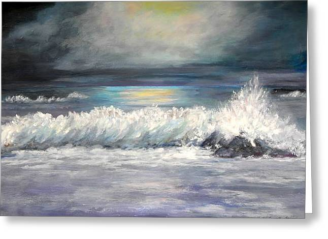 Moonlight Surf Greeting Card by Shirley Lawing