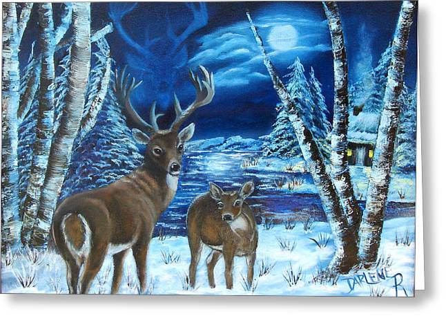 Moonlight Walk Greeting Card by Darlene Green