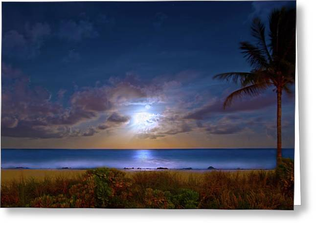 Moonlight Waves Greeting Card