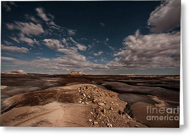 Moonlit Badlands Greeting Card by Melany Sarafis