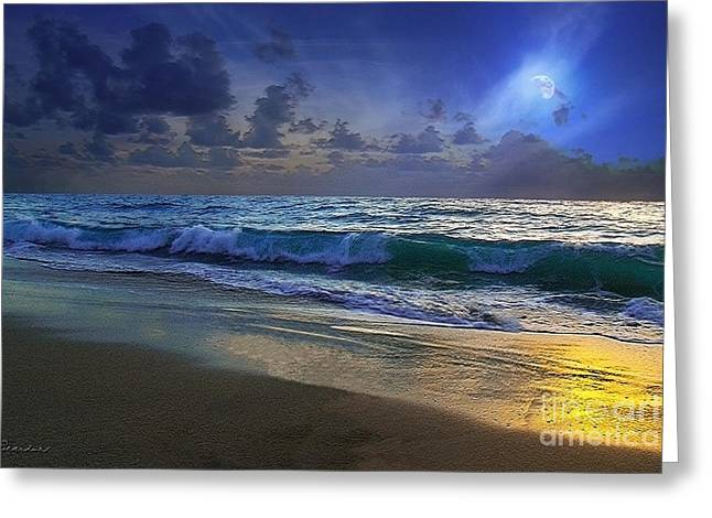 Moonlit Beach Seascape Treasure Coast Florida C4 Greeting Card