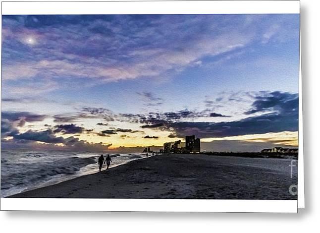 Moonlit Beach Sunset Seascape 0272b1 Greeting Card