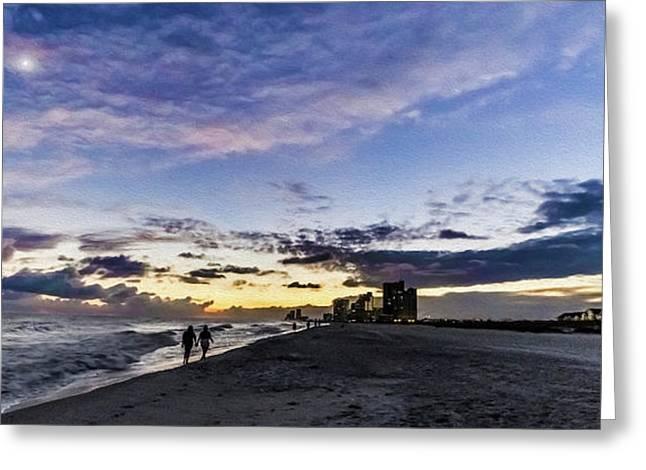 Moonlit Beach Sunset Seascape 0272c Greeting Card