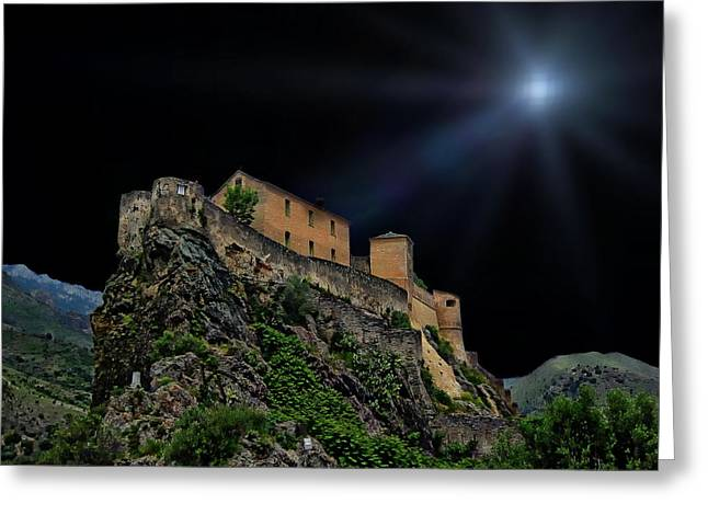 Moonlit Castle Greeting Card by Anthony Dezenzio