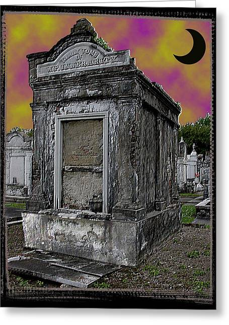 Moonlit Cemetary Greeting Card by Linda Kish