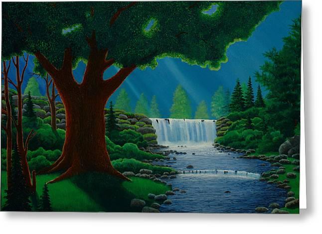 Moonlit Falls Greeting Card by Mark Regni