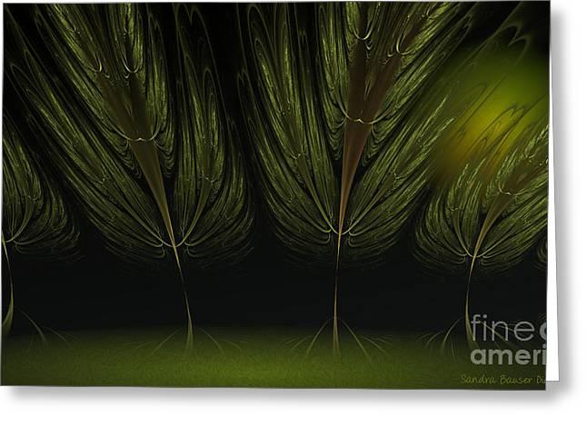 Moonlit Forest Greeting Card by Sandra Bauser Digital Art