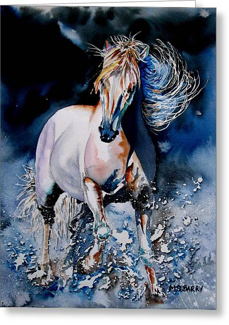 Moonlit Gallop Greeting Card by Maria Barry