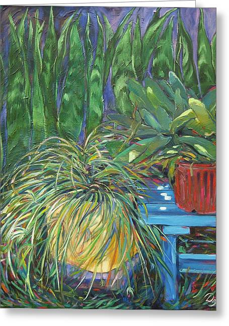 Moonlit Garden Greeting Card by Karen Doyle