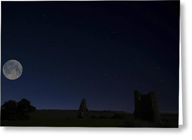 Moonlit Hadleigh Castle Greeting Card by David French