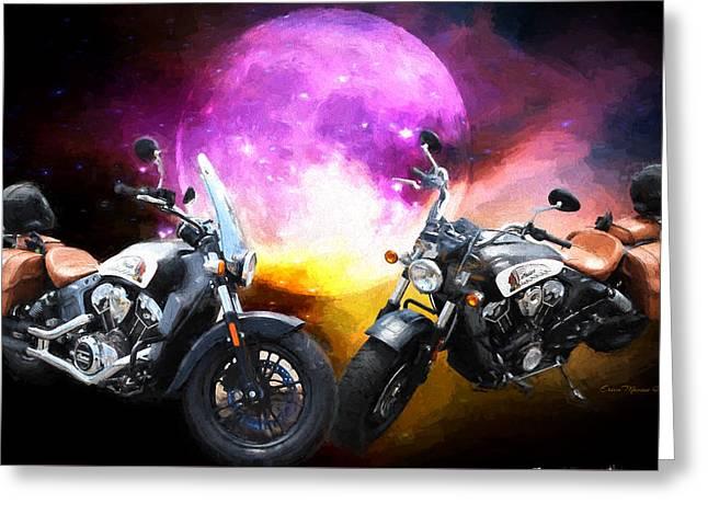 Moonlit Indian Motorcycle Greeting Card