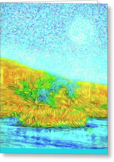 Greeting Card featuring the digital art Moonlit Island Blue - Boulder County Colorado by Joel Bruce Wallach