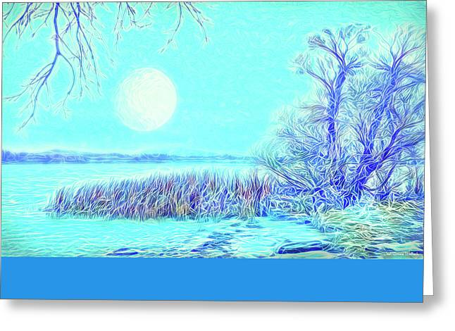 Greeting Card featuring the digital art Moonlit Lake In Blue - Boulder County Colorado by Joel Bruce Wallach