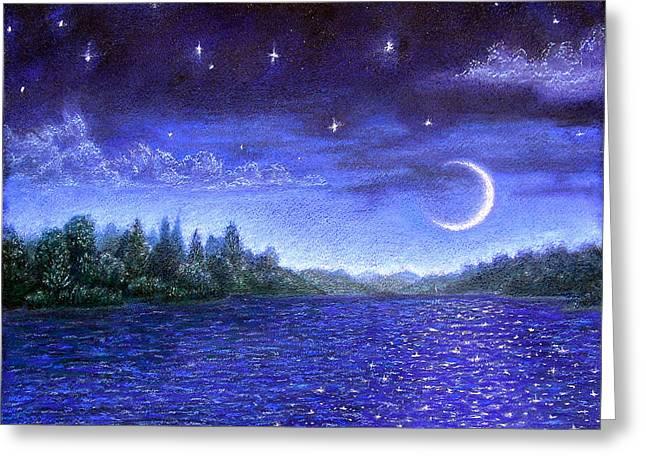 Moonlit Lake Greeting Card