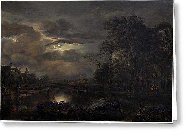 Moonlit Landscape With Bridge Greeting Card