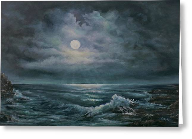 Moonlit Seascape Greeting Card