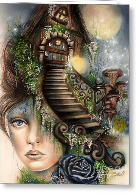 Moonlit Manor  Greeting Card by Sheena Pike