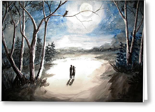 Moonlit Night Sweet Memory Greeting Card by Shashikanta Parida