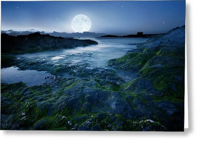 Moonlit Ocean Greeting Card by  Jaroslaw Grudzinski