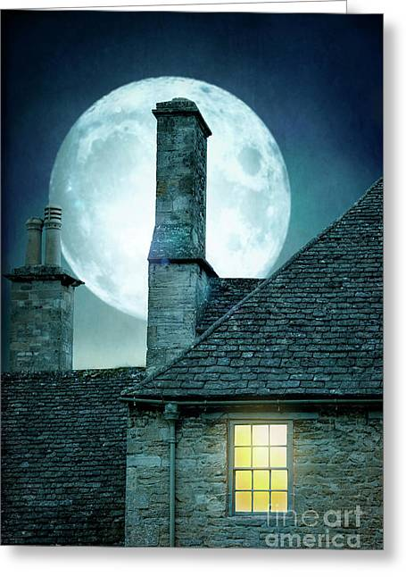 Moonlit Rooftops And Window Light  Greeting Card