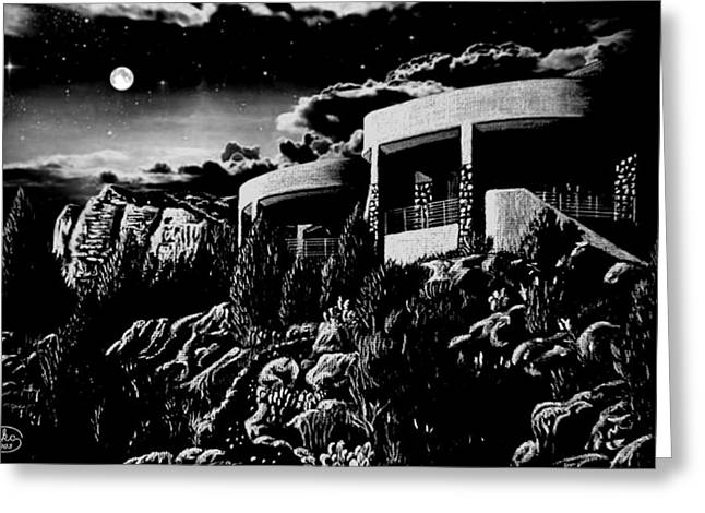 Moonlit Sadona Clubhouse Greeting Card