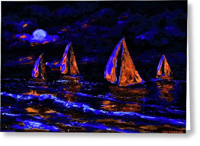 Moonlit Sailing In Neon Greeting Card
