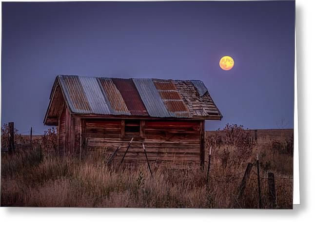 Moonlit Shed Greeting Card by Brad Stinson