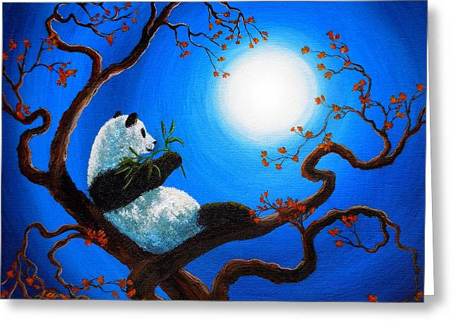 Surreal Landscape Greeting Cards - Moonlit Snack Greeting Card by Laura Iverson