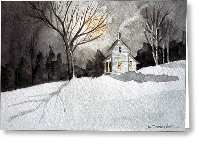 Moonlit Snow Greeting Card