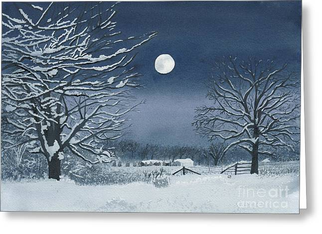 Moonlit Snowy Scene On The Farm Greeting Card