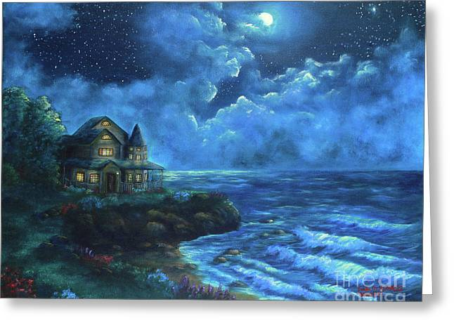 Greeting Card featuring the painting Moonlit Splendor by Kristi Roberts
