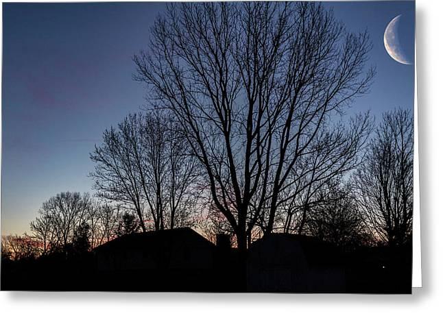 Moonlit Sunrise Greeting Card