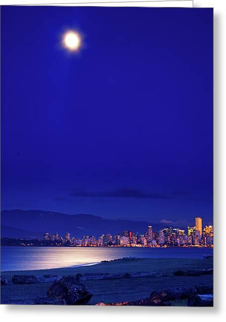 Moonlit Vancouver Greeting Card by Paul Kloschinsky