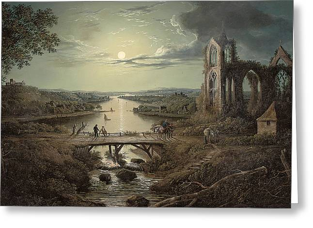 Moonlit View Of The River Tweed With Melrose Abbey In The Foreground And Figures On A Bridge Greeting Card by Abraham Pether
