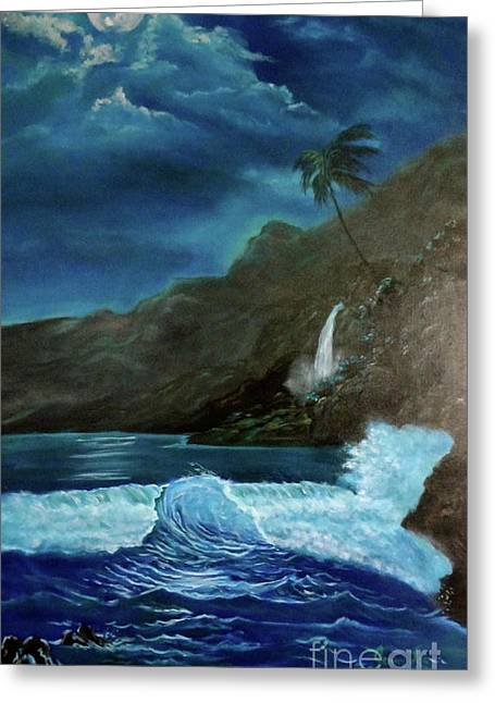 Moonlit Wave Greeting Card