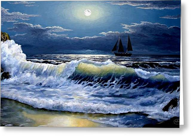 Moonlit Wave Greeting Card by Ron Chambers