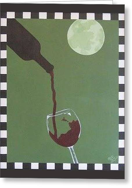 Moonlit Wine Greeting Card by Michele Lyn