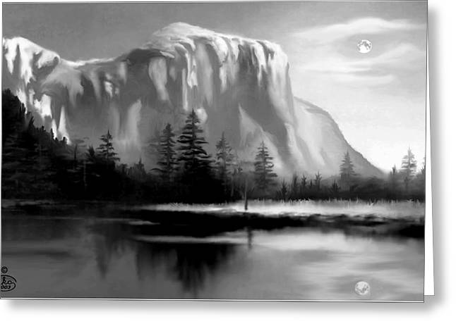 Moonlit Yosemite Lake Greeting Card by Ron Chambers