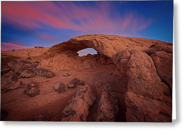 Greeting Card featuring the photograph Moonrise Arch by Edgars Erglis