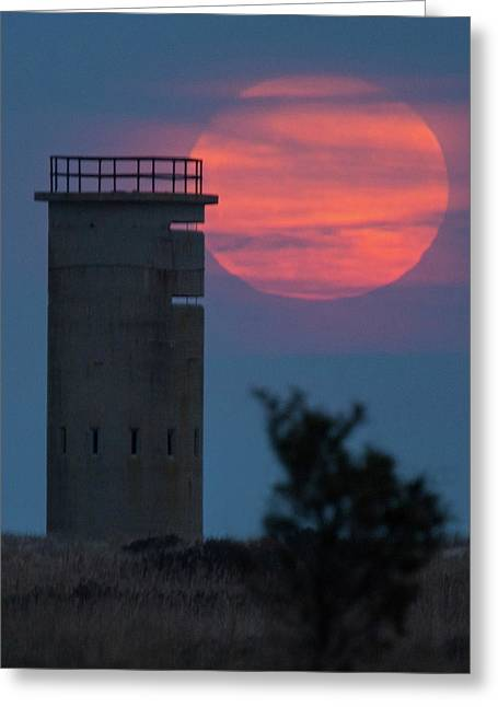 Greeting Card featuring the photograph Moonrise At Gordons Pond by Robert Pilkington