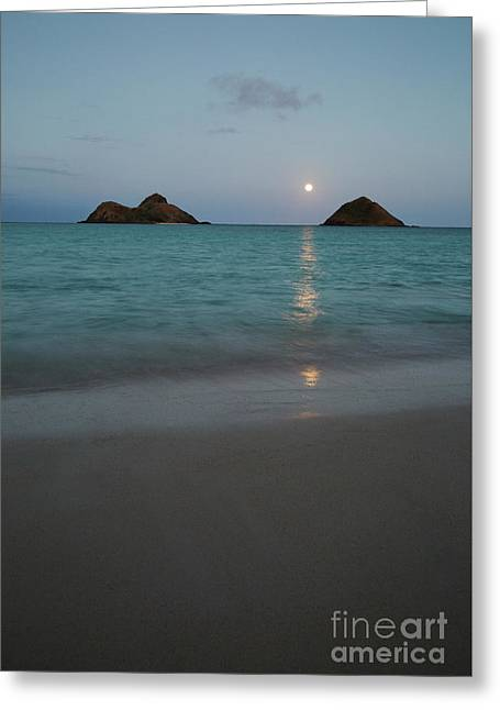Moonrise At Lanikai Greeting Card