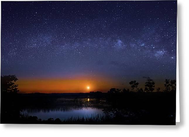 Moonrise At Milky Way Creek Greeting Card by Mark Andrew Thomas