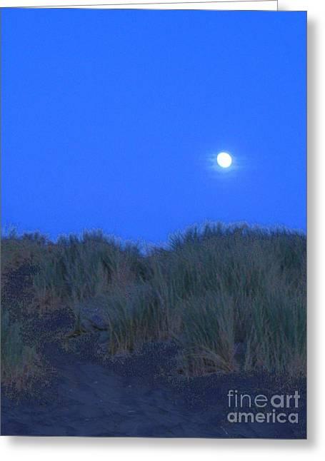 Moonrise At Ocean Beach Greeting Card