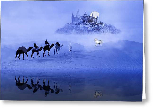 Moonrise At The Magical Oasis Greeting Card