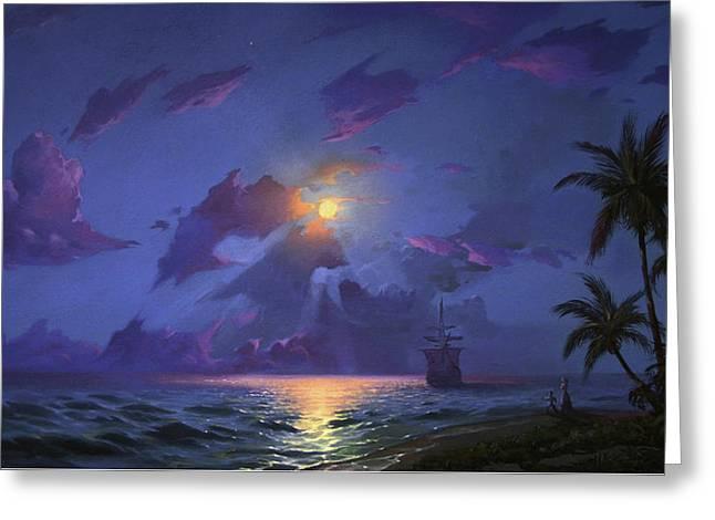 Moonrise At Tropics Greeting Card by Anton Atanasov Art