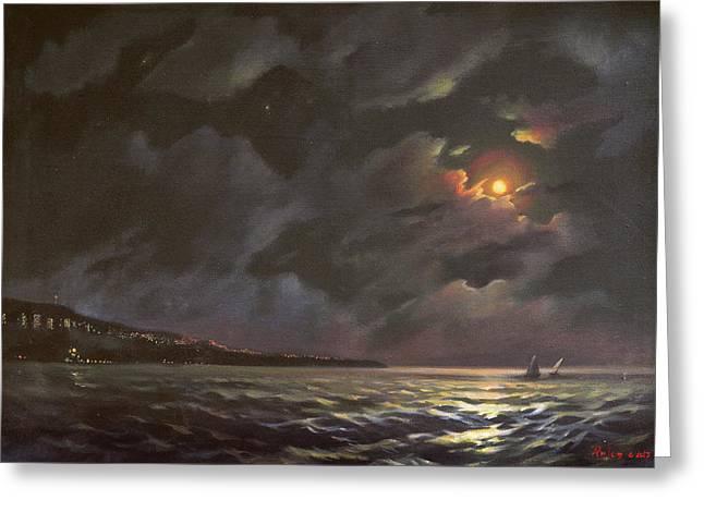 Moonrise At Varna  Greeting Card by Anton Atanasov Art