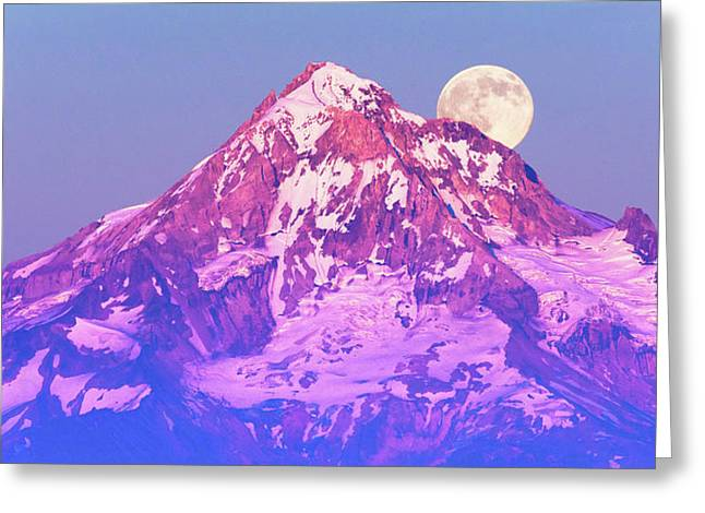 Moonrise Behind Mt. Hood Greeting Card