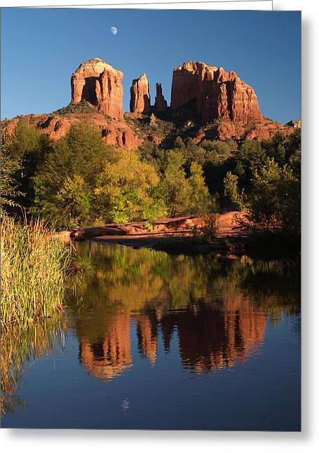 Moonrise Cathedral Rocks Greeting Card