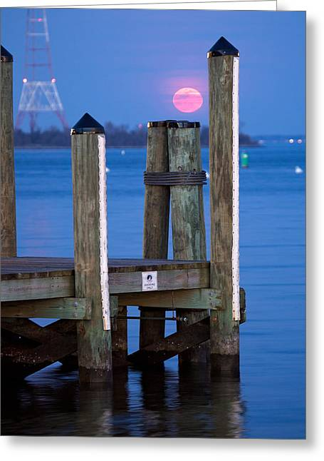 Greeting Card featuring the photograph Moonrise Dock by Jennifer Casey